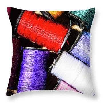 Throw Pillow featuring the photograph Rainbow Threads Sewing Equipment by Jorgo Photography - Wall Art Gallery