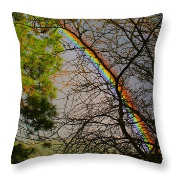 Throw Pillow featuring the photograph Rainbow Tree by Ben Upham III