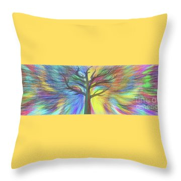 Throw Pillow featuring the digital art Rainbow Tree By Kaye Menner by Kaye Menner