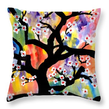 Rainbow Tree Throw Pillow by Connie Valasco