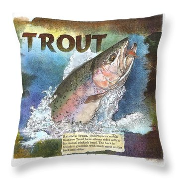 Throw Pillow featuring the drawing Rainbow Trout by John Dyess