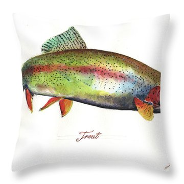Rainbow Trout Throw Pillow by Juan Bosco
