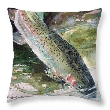 Rainbow Trout Throw Pillow