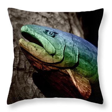 Throw Pillow featuring the photograph Rainbow Trout Wood Sculpture by John Stephens