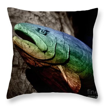 Throw Pillow featuring the photograph Rainbow Trout Wood Sculpture Square by John Stephens