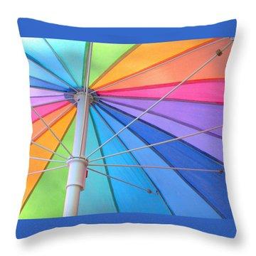 Rainbow Umbrella Throw Pillow