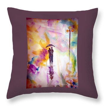 Rainbow Walk Of Love Throw Pillow by Raymond Doward