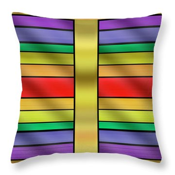 Throw Pillow featuring the digital art Rainbow Wall Hanging Horizontal by Chuck Staley