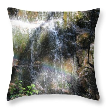 Rainbow Waterfall Throw Pillow