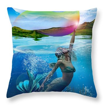Rainbow Wave Throw Pillow by Shadowlea Is