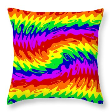 Rainbow Waves #855 Throw Pillow