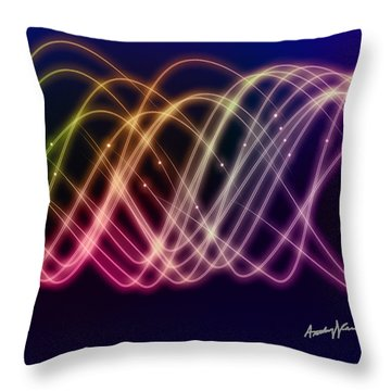 Rainbow Waves Throw Pillow by Anthony Caruso
