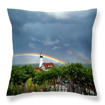 Rainbow X 2 At Portland Headlight Throw Pillow