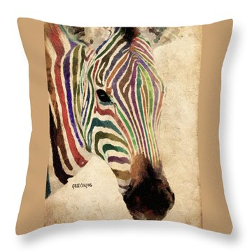 Rainbow Zebra Throw Pillow by Greg Collins