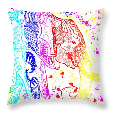 Rainbow Zentangle Elephant Throw Pillow