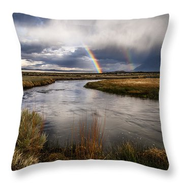 Rainbows At The Upper Owens Throw Pillow