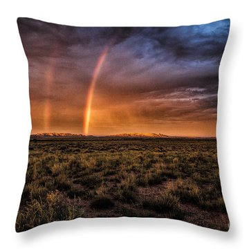 Rainbows In The Desert  ... Throw Pillow