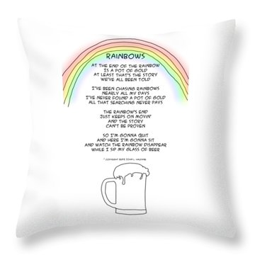 Throw Pillow featuring the drawing Rainbows by John Haldane