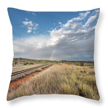 Rainbows Over Ghan Tracks Throw Pillow