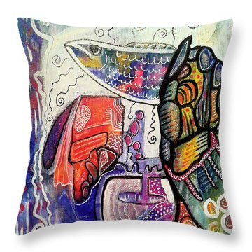 Rainbowtrout Throw Pillow by Mimulux patricia no No