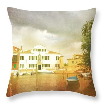 Throw Pillow featuring the photograph Raincloud Over Malamocco by Anne Kotan