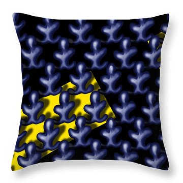 Raindance IIi - March Of The Blue People Throw Pillow