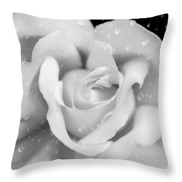 Throw Pillow featuring the photograph Raindrops On Rose Black And White by Jennie Marie Schell