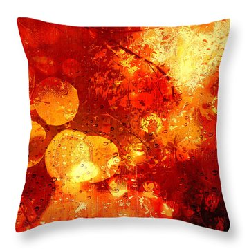 Throw Pillow featuring the digital art Raindrops And Bokeh Abstract by Fine Art By Andrew David