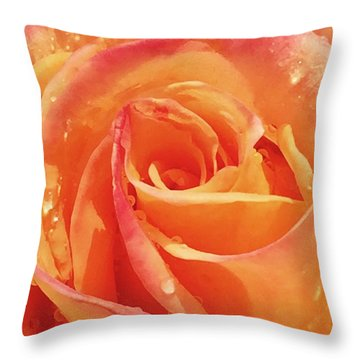 Raindrops And Petals Throw Pillow by Beverly Johnson