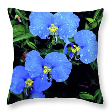 Raindrops In Blue Throw Pillow