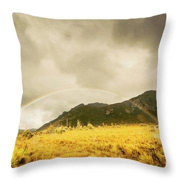 Raindrops In Rainbows Throw Pillow