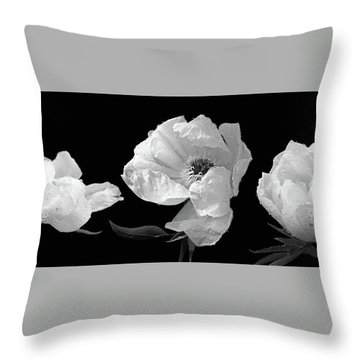 Raindrops On Peonies Black And White Panoramic Throw Pillow by Gill Billington
