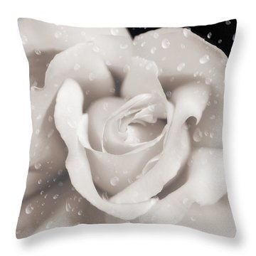 Throw Pillow featuring the photograph Raindrops On Sepia Rose Flower by Jennie Marie Schell