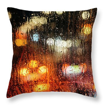 Raindrops On Street Window Throw Pillow