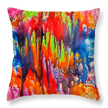 Throw Pillow featuring the painting Raindrops On The Window by Dragica  Micki Fortuna