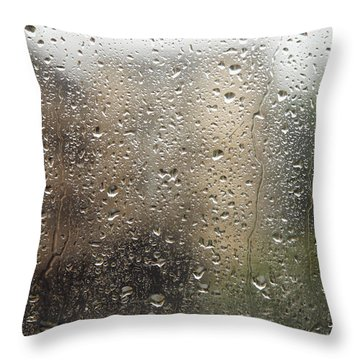 Raindrops On Window Throw Pillow by Brandon Tabiolo - Printscapes