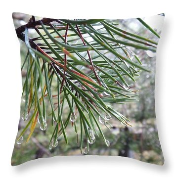 Raindrops Throw Pillow by Rosie Brown