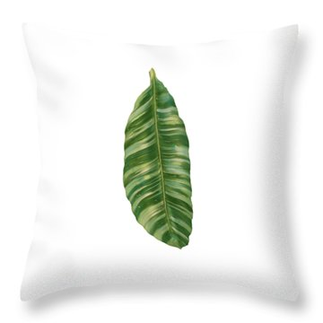 Rainforest Resort - Tropical Banana Leaf  Throw Pillow