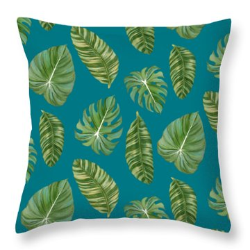 Rainforest Resort - Tropical Leaves Elephant's Ear Philodendron Banana Leaf Throw Pillow