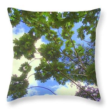 Rainforest Tree Throw Pillow by Lois Lepisto
