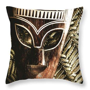 Rainforest Tribal Mask Throw Pillow