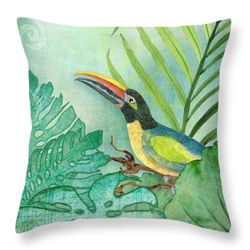 Rainforest Tropical - Tropical Toucan W Philodendron Elephant Ear And Palm Leaves Throw Pillow