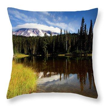 Rainier Capped Throw Pillow by Mike  Dawson