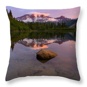 Rainier Dawn Breaking Throw Pillow