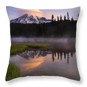 Rainier Lenticular Sunrise Throw Pillow by Mike  Dawson