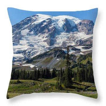 Rainier Mazama Ridge Throw Pillow by Mike Reid