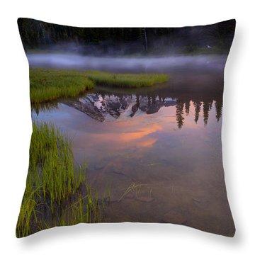 Rainier Sunrise Cap Throw Pillow