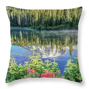 Rainier Wildflowers At Reflection Lake Throw Pillow
