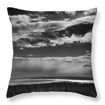 Throw Pillow featuring the photograph Raining At Yellowstone Lake by Jason Moynihan