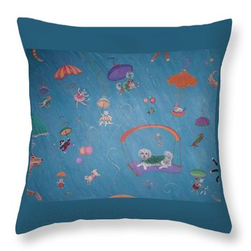Raining Cats And Dogs Throw Pillow